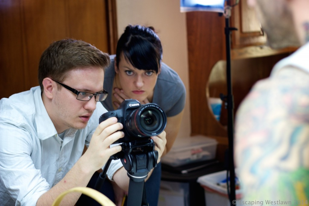 Director Christine Carstairs and camera operator Jonathan Grigg set up a shot